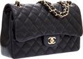 Luxury Accessories:Bags, Chanel Black Quilted Lambskin Leather Jumbo Double Flap Bag withGold Hardware. ...