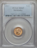Commemorative Gold: , 1917 G$1 McKinley MS65 PCGS. PCGS Population (580/459). NGC Census:(287/247). Mintage: 10,000. Numismedia Wsl. Price for p...
