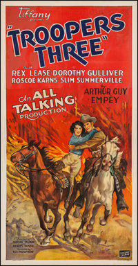 "Troopers Three (Tiffany, 1930). Three Sheet (41"" X 78.5""). Action"