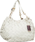Luxury Accessories:Bags, Jimmy Choo Ecru Woven Leather Shoulder Bag. ...