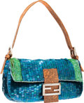 Luxury Accessories:Bags, Fendi Blue Lizard, Bead & Sequin Baguette Bag . ...