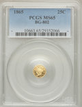 California Fractional Gold: , 1865 25C Liberty Round 25 Cents, BG-802, Low R.5, MS65 PCGS. PCGSPopulation (3/0). NGC Census: (0/1). ...
