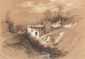 Fine Art - Work on Paper:Drawing, AMERICAN SCHOOL (19th Century). Provence Landscape. Penciland white highlights on paper. 7-1/4 x 10-1/2 inches (18.4 x ...