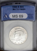 SMS Kennedy Half Dollars: , 1998-S 50C SMS Matte Finish MS69 ANACS. NGC Census: (421/130). PCGS Population (1260/145). Numismedia Wsl. Price: $340. (#...