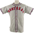 Baseball Collectibles:Uniforms, 1938 Montreal Royals Game Worn Uniform. Ancient flannel jersey andpants derive from one of the most celebrated minor leagu...