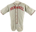Baseball Collectibles:Uniforms, Late 1930's Milwaukee Brewers Game Worn Uniform. Duly proud of itssudsy claim to fame, Milwaukee has utilized the nickname...
