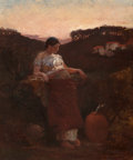 Paintings, EDWIN HOWLAND BLASHFIELD (American, 1848-1936). At the Well, circa 1867-81. Oil on canvas. 17 x 14-1/4 inches (43.2 x 36...