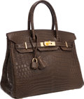 Luxury Accessories:Bags, Hermes 30cm Matte Gris Elephant Nilo Crocodile Birkin Bag with GoldHardware. ...