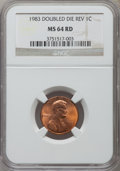 Lincoln Cents: , 1983 1C Doubled Die Reverse MS64 Red NGC. NGC Census: (104/604).PCGS Population (312/965). Numismedia Wsl. Price for prob...
