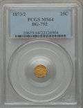 California Fractional Gold, 1873/2 25C Indian Octagonal 25 Cents, BG-792, Low R.7, MS64PCGS....