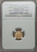 "Alaska Tokens, ""1897"" Alaska Gold One Pinch, Head Right, Round, Reeded AU58 NGC. Variant of Gould-Bressett 110. Hart's Coins of the Wes..."