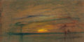 Fine Art - Painting, American:Antique  (Pre 1900), WILLIAM GEDNEY BUNCE (American, 1840-1916). Sunset. Oil and(possibly) oil pastel on board. 12-1/4 x 24-1/2 inches (31.1...
