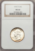 Washington Quarters: , 1935-D 25C MS66 NGC. NGC Census: (97/12). PCGS Population (194/19).Mintage: 5,780,000. Numismedia Wsl. Price for problem f...