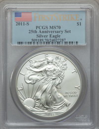 2011-S $1 Silver Eagle, 25th Anniversary, First Strike MS70 PCGS. PCGS Population (8227). NGC Census: (18278). From Th...