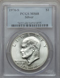 Eisenhower Dollars: , 1976-S $1 Silver MS68 PCGS. PCGS Population (573/0). NGC Census: (73/0). Mintage: 11,000,000. Numismedia Wsl. Price for pro...