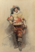 Works on Paper, GUSTAVO SIMONI (Italian, 1846-1926). The Cavalier, 1880. Watercolor on paper. 16 x 11 inches (40.6 x 27.9 cm). Signed, d...