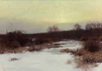 BRUCE CRANE (American, 1857-1937) Snow Scene at Twilight Oil on canvas 14 x 20 inches (35.6 x 50