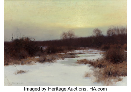 BRUCE CRANE (American, 1857-1937)Snow Scene at TwilightOil on canvas14 x 20 inches (35.6 x 50.8 cm)Signed lower ...
