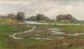 Paintings, ALICE MARION CURTIS (American, 1847-1911). River Landscape with Marshes, circa 1890. Oil on panel. 11-3/4 x 19-3/4 inche...
