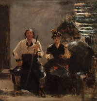 WILLIAM TURNER DANNAT (American, 1853-1929) Sketch for The Quartette, circa 1889 Oil on panel 13