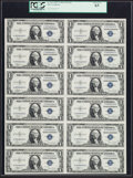 Small Size:Silver Certificates, Fr. 1612 $1 1935C Silver Certificates. Uncut Sheet of Twelve. PCGS Choice New 63.. ...