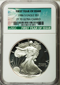 1986-S $1 Silver Eagle, First Year of Issue PR70 Ultra Cameo NGC. NGC Census: (1203). PCGS Population (1327). Mintage: 1...