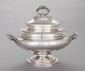 Silver Holloware, American, A J.& I. COX COIN SILVER COVERED SOUP TUREEN. J.& I. Cox,New York, New York, circa 1840. Marks: J. & I. COX. 13 x15-3/...