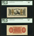 Fractional Currency:Third Issue, Fr. 1343SP 50¢ Third Issue Justice Wide Margin Pair PCGS Very Choice New 64 and Choice New 63.. ... (Total: 2 notes)