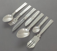 A FORTY-TWO PIECE WILLIAM SPRATLING AMARRES PATTERN MEXICAN HAMMERED SILVER FLATWARE SERVICE