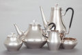 Silver Holloware, American:Tea Sets, A FIVE PIECE REED & BARTON DENMARK PATTERN SILVER-PLATEDMODERNIST TEA AND COFFEE SERVICE. Reed & Barton, Taunto...(Total: 5 Items)