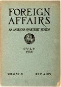 Books:Periodicals, [American Periodical]. Foreign Affairs: An American QuarterlyReview, July 1928. Brown Brothers & Co., 1928. Quarto....