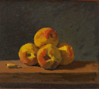 ROBERT KULICKE (American, 1924-2007) Four Peaches and an Almond, 1985 Oil on panel 9-1/2 x 10-3/4