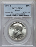 Kennedy Half Dollars, 1976-S 50C Silver MS67 PCGS. PCGS Population (2055/352). NGCCensus: (357/22). Mintage: 11,000,000. Numismedia Wsl. Price f...