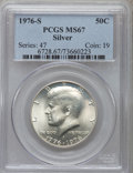 Kennedy Half Dollars: , 1976-S 50C Silver MS67 PCGS. PCGS Population (2054/352). NGCCensus: (357/22). Mintage: 11,000,000. Numismedia Wsl. Price f...