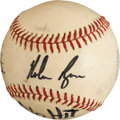 Baseball Collectibles:Balls, 1974 Nolan Ryan Third Career No-Hitter Game Used Baseball....