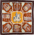 "Luxury Accessories:Accessories, Hermes 90cm Brown & Blue ""Les Muserolles,"" by ChristianeVauzelles Silk Scarf. ..."