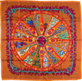 "Luxury Accessories:Accessories, Hermes 90cm Orange, Fuchsia & Green ""Aux Pays des Epices,"" by Annie Faivre Silk Scarf. ..."
