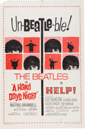 Music Memorabilia:Posters, Beatles A Hard Day's Night/Help! Reissue Theatrical Poster(United Artists, 1965)....