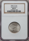 Statehood Quarters, 2002-D 25C Mississippi MS67 NGC. NGC Census: (85/15). PCGS Population (953/120). Numismedia Wsl. Price for problem free NG...