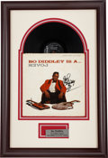 Music Memorabilia:Autographs and Signed Items, Bo Diddley Is A.. Lover Signed Album Cover Display (Checker10845, 1961)....
