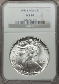 1986 $1 Silver Eagle MS70 NGC. NGC Census: (1284). PCGS Population (3). Mintage: 5,393,005. Numismedia Wsl. Price for pr...