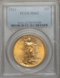 Saint-Gaudens Double Eagles: , 1913 $20 MS62 PCGS. PCGS Population (863/1018). NGC Census:(1039/473). Mintage: 168,700. Numismedia Wsl. Price for problem...