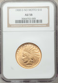 Indian Eagles: , 1908-D $10 No Motto AU58 NGC. NGC Census: (305/435). PCGSPopulation (231/409). Mintage: 210,000. Numismedia Wsl. Pricefor...