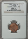 Civil War Merchants, 1863 Wm. Flemming & Bro., Lansing, Iowa MS65 Red and Brown NGC.Fuld-IA560A-1a....