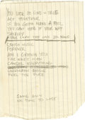 Music Memorabilia:Autographs and Signed Items, Rolling Stones' Ron Wood Handwritten Lyrics....