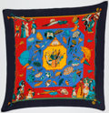 "Luxury Accessories:Accessories, Hermes Blue & Orange ""Ombrelles et Parapluies,"" by Hubert deWatrigant Silk Plisse Scarf. ..."