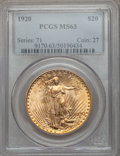 Saint-Gaudens Double Eagles: , 1920 $20 MS63 PCGS. PCGS Population (1971/835). NGC Census:(1438/415). Mintage: 228,250. Numismedia Wsl. Price for problem...