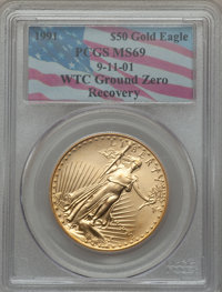 1991 G$50 One-Ounce Gold Eagle MS69 PCGS. 9-11-01 WTC Ground Zero Recovery. PCGS Population (1748/29). NGC Census: (1478...