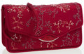 Luxury Accessories:Bags, Judith Leiber Burgundy Satin Floral Stitched Clutch Bag withShoulder Strap . ...
