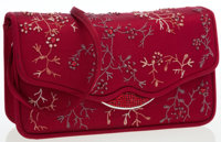 Judith Leiber Burgundy Satin Floral Stitched Clutch Bag with Shoulder Strap